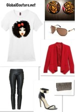 Outfit of the Week: Curly Ashley tee & Rasta Collection earrings