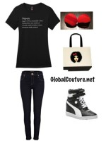 Outfit of the Week: Nappy Dictionary Tee, Animal Print earrings & Curly Ashley tote