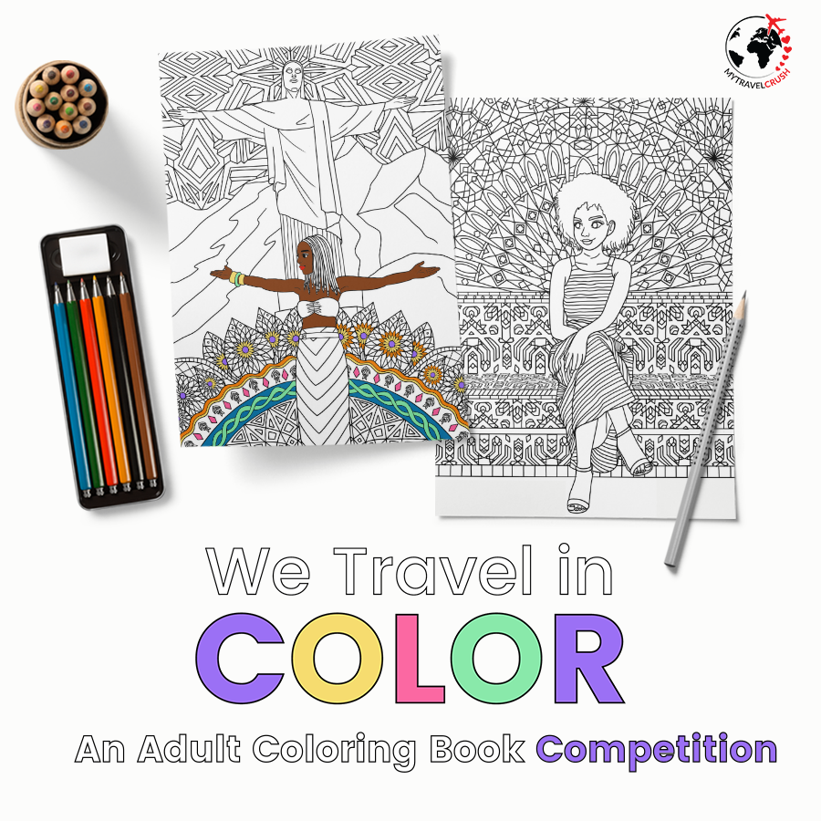 We Travel in Color Adult Coloring Book giveaway